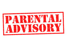 PARENTAL ADVISORY. Red Rubber Stamp over a white background Stock Image