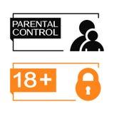 Parental control banners with parent, children and padlock icon. Parental control banners with parent, child and padlock icon Stock Photography