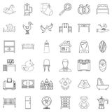 Parental control icons set, outline style. Parental control icons set. Outline set of 36 parental control vector icons for web isolated on white background Royalty Free Stock Images