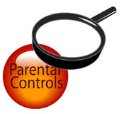 Parental controls. Magnifying glass over top of parental controls button Stock Photo