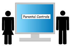 Parental controls. Illustration of computer being guarded by parental controls Royalty Free Stock Photography