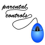 Parental controls. Mouse with cord spelling out word parental controls Royalty Free Stock Image
