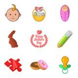 Parental responsibility icons set, cartoon style. Parental responsibility icons set. Cartoon set of 9 parental responsibility vector icons for web isolated on Royalty Free Stock Photos