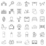 Parental supervision icons set, outline style. Parental supervision icons set. Outline set of 36 parental supervision vector icons for web isolated on white Stock Images