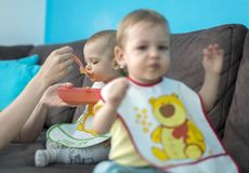 Feeding little baby twins. Parenthood concept - mother with puree and spoon feeding little baby twins at home Royalty Free Stock Image