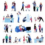 Parenthood family situations flat icons set stock illustration