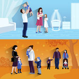 Parenthood 2 flat banners icomposition Royalty Free Stock Image