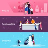 Parenthood 3 flat horizontal banners set Royalty Free Stock Photos