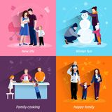 Parenthood 4 flat icons square set Royalty Free Stock Photos