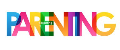 PARENTING colorful overlapping letters banner. Vector.  Rainbow palette Stock Image