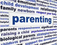Parenting educational message design. Parents responsiveness learning words background royalty free stock photos