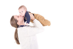 Parenting. Mother with little baby isolated in white Stock Photo