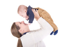 Parenting. Mother with little baby isolated in white Stock Image