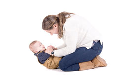 Parenting. Mother with little baby isolated in white Royalty Free Stock Images