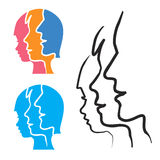 Parenting stylized head silhouettes. Royalty Free Stock Photo