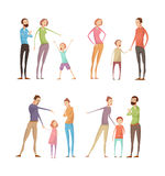 Parents Abusing Child Compositions. Set of four isolated adults abuse children compositions with flat characters of quarreling parents and kids vector Royalty Free Stock Photography