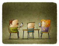 Parents addicted to smartphones Stock Image
