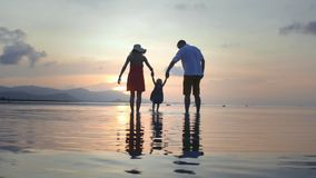 Parents al bebé de balanceo alrededor en la playa en la puesta del sol almacen de video