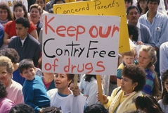 Parents at an anti-drug rally Royalty Free Stock Photography