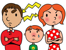 Parents argue or divorce and child suffers. Illustration of parents arguing or divorcing and their son crying Stock Photo