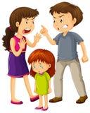 Parents argue and little girl cries. Illustration vector illustration