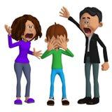 Parents arrabbiato con un bambino Fotografie Stock Libere da Diritti