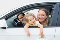 Parents and baby on a drive Royalty Free Stock Photos