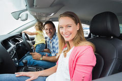 Parents and baby on a drive Royalty Free Stock Images
