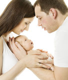 Parents and baby. Family mother, father, newborn chils Royalty Free Stock Image