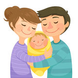 Parents and a baby. Happy young parents hugging a newborn baby Royalty Free Stock Image