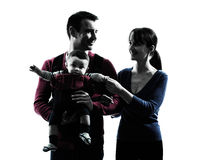 Parents with baby portrait silhouette Royalty Free Stock Photos