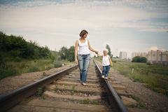 Parents with baby on railroad Stock Photography