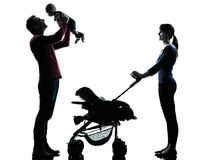 Parents with baby silhouette Royalty Free Stock Photos