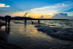 Parents bring the kids Songkhla sea travel on weekends. Cape Smith for Songkhla. With so many people on weekends royalty free stock photo