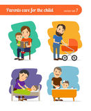 Parents care for the child Royalty Free Stock Image