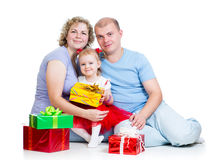 Parents and child girl with gifts on white. Parents and kid girl with gifts on white background stock photo