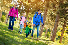 Parents and child on a hiking day Royalty Free Stock Images