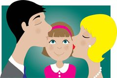 Parents and Child Kiss stock illustration