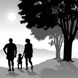 Parents with child. Silhouette of parents walking with child at sunset. Vector illustration Royalty Free Stock Photo