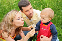 Parents with child sit in grass Royalty Free Stock Image