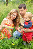 Parents with child sit in grass Stock Image