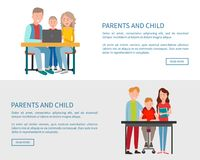 Parents and Son Sitting in Front of Open Laptop. Parents and child sitting in front of open laptop watching movie or doing homework together. Family on chairs at Royalty Free Stock Photos