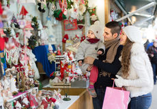 Parents with child at  X-mas market Royalty Free Stock Image