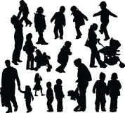 Parents with children. Black silhouettes moms and dads with children vector illustration