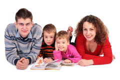 Parents with children and books Royalty Free Stock Photos