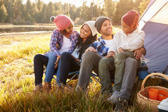 Parents With Children Camping By Lake Royalty Free Stock Photos