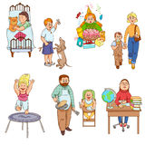 Parents with children cartoon icons collection. Parents caring for children and playing kids cartoon style happy family icons collection abstract isolated vector Royalty Free Stock Images