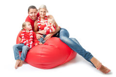 Parents and children cheer Polish team Stock Photography