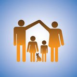 Parents,children & dog forming a home illustration Royalty Free Stock Photography