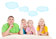Parents with children dream. A white background Stock Photography